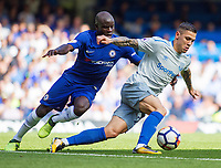 Muhamed Basic of Everton turns Ngolo Kante of Chelsea, English Premier League, Chelsea v Everton, Stamford Bridge, London, United Kingdom, 27th August 2017