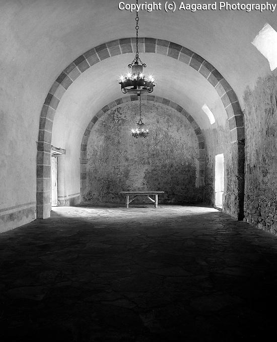 Granary at Mission San Jose, San Antonio Missions National Historic Park.<br /> <br /> Mamiya RB67 Pro SD, 50mm lens, Kodak 100 film