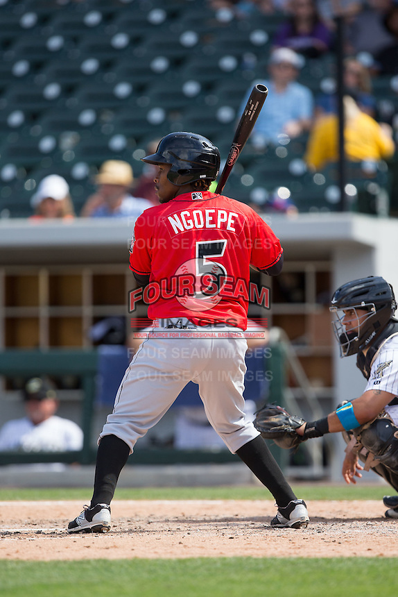 Gift Ngoepe (5) of the Indianapolis Indians at bat against the Charlotte Knights at BB&T BallPark on June 19, 2016 in Charlotte, North Carolina.  The Indians defeated the Knights 6-3.  (Brian Westerholt/Four Seam Images)