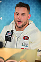 MIAMI, FL - JANUARY 27: San Francisco 49ers Defensive End Nick Bosa (#97) answers questions from the media during the NFL Super Bowl ( LIV)(54) Opening Night at Marlins Park on January 27, 2020  in Miami, Florida. ( Photo by Johnny Louis / jlnphotography.com )