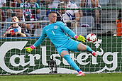 June 19th 2017, Kielce, Poland; UEFA European U-21 football championships, England versus Slovakia; Jordan Pickford (ENG)  clears the long ball upfield from his box