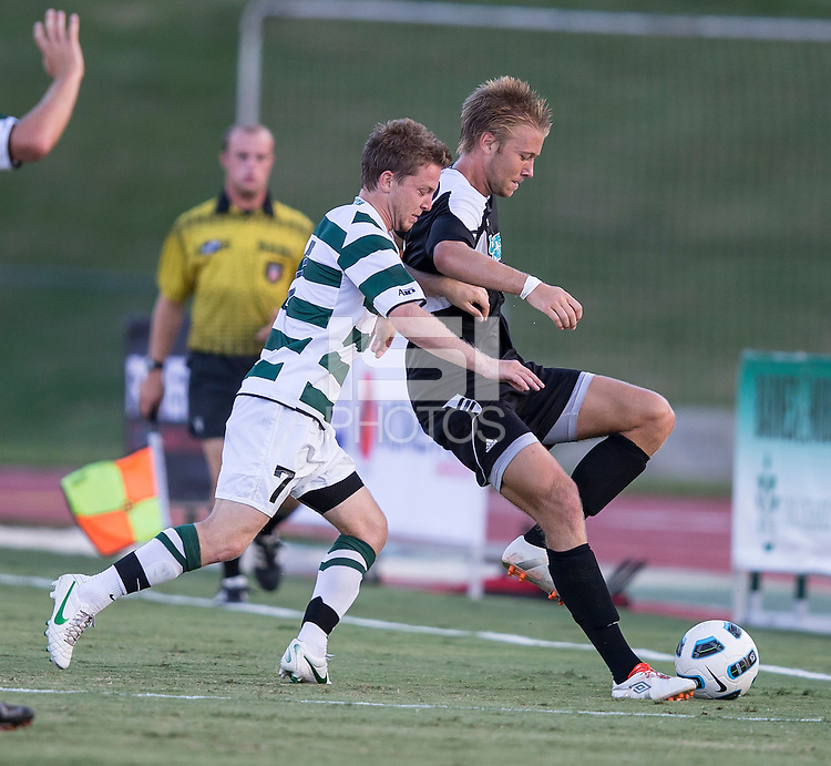 Number 8 ranked Charlotte beats number 16 ranked Coastal Carolina 1-0 on a goal by Thomas Allen in the 101st minute during the second overtime.  Owen Darby (7),