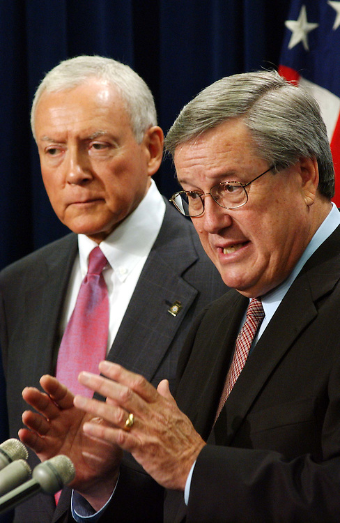 7/25/03.REPEAL OF FSC/ETI TAX PROVISION--Sen. Orrin G. Hatch, R-Utah, and House Ways and Means Chairman Bill Thomas, R-Calif., during a news conference on their legislation that would repeal the FSC/ETI tax provision..CONGRESSIONAL QUARTERLY PHOTO BY SCOTT J. FERRELL