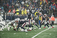 FOXBOROUGH, MA - NOVEMBER 24: Tom Brady and the offensive line during a game between Dallas Cowboys and New England Patriots at Gillettes on November 24, 2019 in Foxborough, Massachusetts.