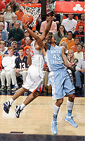 North Carolina forward James Michael McAdoo (43) shoots the ball during an NCAA basketball game against Virginia Monday Jan. 20, 2014 in Charlottesville, VA. Virginia defeated North Carolina 76-61.