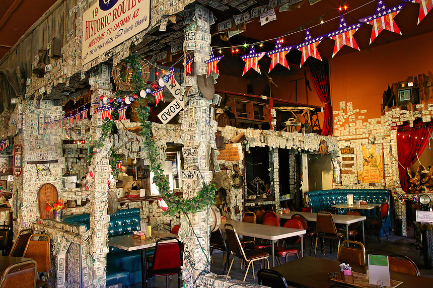 The bar inside The Oatman Hotel on the Historic Route 66, and the town Oatman, Arizona.