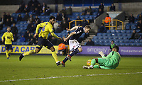 Blackburn Rovers' Joe Nuttall chases the ball but is beaten to it by Jordan Archer<br /> <br /> Photographer Rob Newell/CameraSport<br /> <br /> The EFL Sky Bet Championship - Millwall v Blackburn Rovers - Saturday 12th January 2019 - The Den - London<br /> <br /> World Copyright &copy; 2019 CameraSport. All rights reserved. 43 Linden Ave. Countesthorpe. Leicester. England. LE8 5PG - Tel: +44 (0) 116 277 4147 - admin@camerasport.com - www.camerasport.com