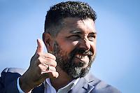 20161009/ Javier Calvelo - adhocFOTOS/ URUGUAY/ MONTEVIDEO/  DEPORTE - FUTBOL/ CAMPEONATO URUGUAYO ESPECIAL 2016 / 7&deg; FECHA/ Cancha: Estadio Jardines del Hip&oacute;dromo.Danubio 3 ante Pe&ntilde;arol 2. <br /> En la foto: Leonardo Ramos, dt de Danubio, en el Estadio Jardines del Hip&oacute;dromo por la s&eacute;ptima fecha del Campeonato Uruguayo Especial. Foto: Javier Calvelo/ adhocFOTOS
