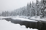 Snow build up along the Truckee River during the snowstorms of January, 2017, which saw some of the largest snow deposits in Lake Tahoe area history.