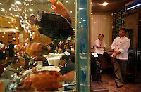 Live Reef Fish seafood restaurant in Guangzhou. East Ocean Seafood Restaurant Telephone is 8669 5528.Main contact:.Nicole_artbud@hotmail.com or nicolecheng@vip.sina.com.Cell phone number: +(86) 139 2214 1600.Nicole Cheng.Senior Associate-Guangzhou.Burson Marsteller.Room 6805A, CITIC Plaza, 233 Tianhe North Road.Guangzhou, 510613 P.R.C..+8620 3877 1820 X229 Work Phone.3877 1815 Fax.Nicole_cheng@bm.com.Initially reef fish only came from the South China Sea, but transport developed and fish now come from all over S.E. Asia.  The whole reef fish trade crashed with the 97-98 HK stock market crash.  LRF trade is directly linked to economy.  With China coming online financially the trade is booming.  These fish are often used for celebratory meals in Hong Kong, but in Guangzhou the fish are so cheap and the apartments are so small that many people eat out...  And the stereotype is that there is lots of food left on the table.  Often a fish is popular because of its color... more than its taste.