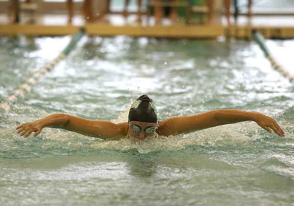 DENTON, TX - SEPTEMBER 20 : Jarmila Gupta of the North Texas Mean Green Swimming & Diving Team competes in the 100 Yard Butterfly against the TCU women's swim team at the Pohl Recreation Center in Denton on September 20, 2013 in Denton, Texas. Photo: Rick Yeatts