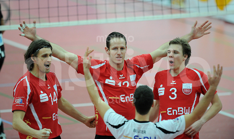 Volleyball  1. Bundesliga   2009/2010  20.01.2010 ENBW TV Rottenburg - SSC Berlin JUBEL TV  Rottenburg, Stefan Schneider, Falko Steinke, Willy Belizer und Michael Neumeister (v.li.)