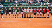 Austria, Kitzbühel, Juli 17, 2015, Tennis, Davis Cup, Presentation of the teams: team Austria left and team Netherlands<br /> Photo: Tennisimages/Henk Koster