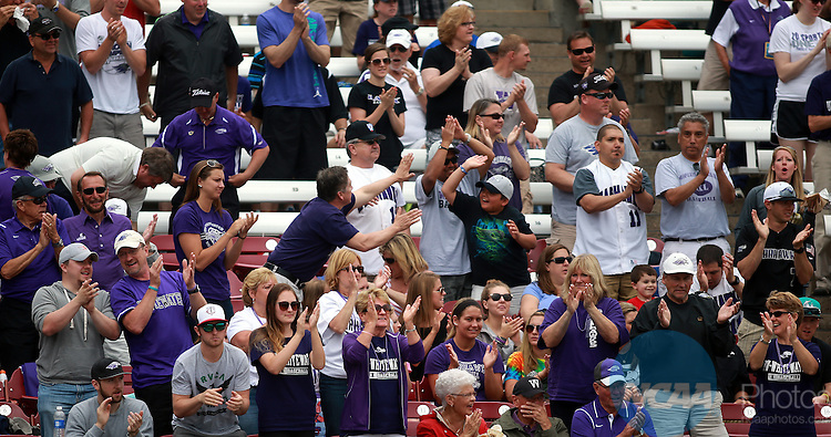 27 MAY 2014-Whitewater fans cheer their third run in the third inning at the NCAA D3 National Baseball Championship at Fox Cities Stadium in Appleton, Wisconsin. Whitewater became the first NCAA school at any level to win the football, basketball, and baseball championships in the same academic year with 7-0 shutout of Emory.                          Allen Fredrickson/NCAA PHOTOS