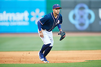Northwest Arkansas Naturals third baseman Jack Lopez (1) during a game against the Midland RockHounds on May 27, 2017 at Arvest Ballpark in Springdale, Arkansas.  NW Arkansas defeated Midland 3-2.  (Mike Janes/Four Seam Images)