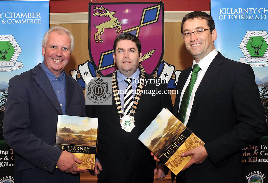 Pictured at the Killarney Avenue Hotel for the business briefing by Killarney Chamber of Toursim and Commerce on Wednesday night were guest speakers John McKenna, The Bridgestone Guide, left and John Concanon, Failte Ireland with Tom Randles, President, KCTC..Picture by Don MacMonagle..pic from KCTC