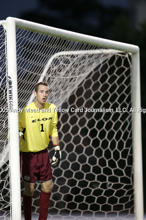 Taylor Saxe, of Elon, on Tuesday October 4th, 2005 at Fetzer Field on the campus of the University of North Carolina Chapel Hill in Chapel Hill, North Carolina. The UNC Tarheels defeated the Elon University Phoenix 2-1 after overtime in an NCAA Division I Men's Soccer game.