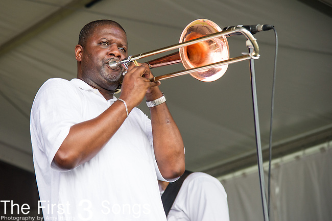 The New Wave Brass Band performs during the 2015 New Orleans Jazz & Heritage Festival in New Orleans, Louisiana.