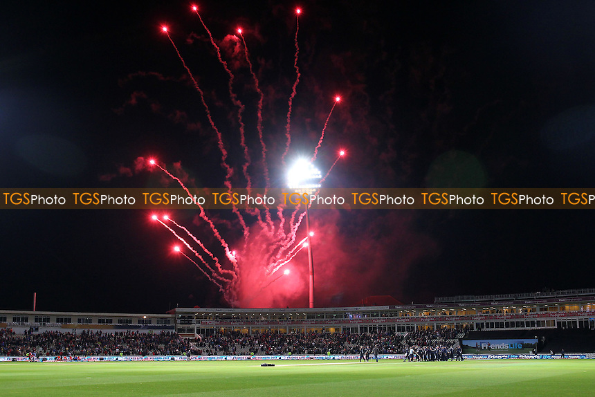 Fireworks go off over the ground as Northants celebrate victory - Surrey Lions vs Northamptonshire Steelbacks - Friends Life T20 Finals Day - The Final at Edgbaston Stadium, Birmingham - 17/08/13 - MANDATORY CREDIT: Gavin Ellis/TGSPHOTO - Self billing applies where appropriate - 0845 094 6026 - contact@tgsphoto.co.uk - NO UNPAID USE