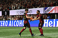 ATLANTA, GA - MARCH 07: ATLANTA, GA - MARCH 07: Atlanta United midfielder Emerson Hyndman scores Atlanta's second goal during the match against FC Cincinnati, which Atlanta won, 2-1, in front of a crowd of 69,301 at Mercedes-Benz Stadium during a game between FC Cincinnati and Atlanta United FC at Mercedes-Benz Stadium on March 07, 2020 in Atlanta, Georgia.