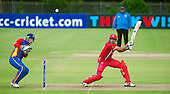 ICC World T20 Qualifier (Warm up match) - Canada V Namibia at Heriots CC, Edinburgh - Canada opener Rizwan Cheema clubs the ball to the boundary — credit @ICC/Donald MacLeod - 06.7.15 - 07702 319 738 -clanmacleod@btinternet.com - www.donald-macleod.com