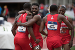 EUGENE, OR - JUNE 09: The University of Houston celebrates after winning the 4x100 meter relay during the Division I Men's Outdoor Track & Field Championship held at Hayward Field on June 9, 2017 in Eugene, Oregon. (Photo by Jamie Schwaberow/NCAA Photos via Getty Images)