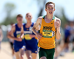 FARGO, ND - MAY 13: Elliott Stone from North Dakota State University leads a pack of runners in the men's 5,000 meter run Saturday at the 2017 Summit League Outdoor Track Championship at the Ellig Sports Complex in Fargo, ND. (Photo by Dave Eggen/Inertia)