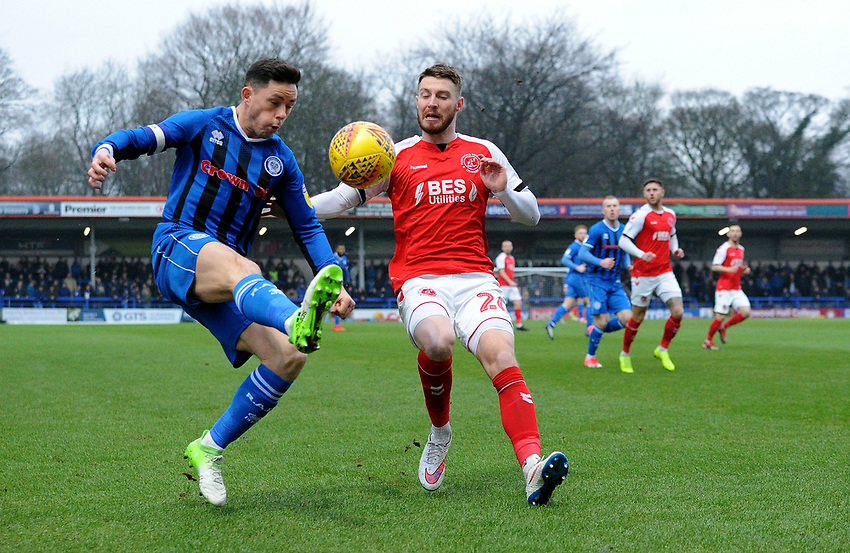 Fleetwood Town's James Husband battles with Rochdale's Ian Henderson<br /> <br /> Photographer Hannah Fountain/CameraSport<br /> <br /> The EFL Sky Bet League One - Rochdale v Fleetwood Town - Saturday 19 January 2019 - Spotland Stadium - Rochdale<br /> <br /> World Copyright © 2019 CameraSport. All rights reserved. 43 Linden Ave. Countesthorpe. Leicester. England. LE8 5PG - Tel: +44 (0) 116 277 4147 - admin@camerasport.com - www.camerasport.com