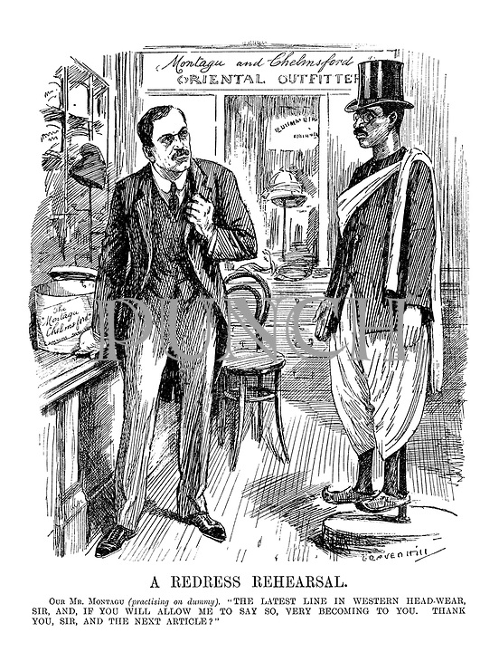 """A Redress Rehearsal. Our Mr Montagu (practising on a dummy). """"The latest line in Western head-wear, Sir, and, if you will allow me to say to, very becoming to you. Thank you, Sir, and the next article?"""""""