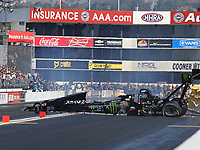 Feb 11, 2018; Pomona, CA, USA; NHRA top fuel driver Brittany Force crashes during round one of the Winternationals at Auto Club Raceway. Mandatory Credit: Mark J. Rebilas-USA TODAY Sports