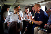 United States President Barack Obama is briefed by National Incident Commander Admiral Thad Allen, as Assistant to the President for Energy and Climate Change Carol Browner listens aboard Marine One en route to tour the effects of the oil spill at Fourchon Beach, Port Fourchon, Louisiana, Friday, May 28, 2010..Mandatory Credit: Pete Souza - White House via CNP