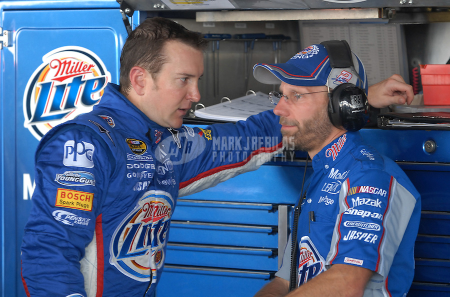 Jun 1, 2007; Dover, DE, USA; Nascar Nextel Cup Series driver Kurt Busch (2) talks with crew chief Troy Raker during practice for the Autism Speaks 400 at Dover International Speedway. Mandatory Credit: Mark J. Rebilas-US PRESSWIRE Copyright © 2007 Mark J. Rebilas..