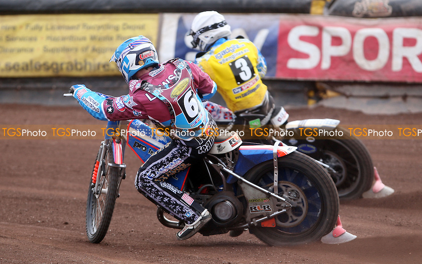 Heat 12: Simon Gustafsson (white) and Richard Lawson (blue) - Vortex Lakeside Hammers vs Eastbourne Eagles, Elite League Speedway at Arena Essex Raceway, Thurrock - 29/03/2013 - MANDATORY CREDIT: Rob Newell/TGSPHOTO - Self billing applies where appropriate - 0845 094 6026 - contact@tgsphoto.co.uk - NO UNPAID USE.