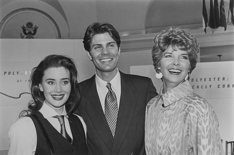 """Politically Correct"" Fashion show at Congressional Club sponsored by the Polyester Council of America, Diane Lott, (Daughter-in-law of Sen. Trent Lott), Hubbie Chet Lott, and Patricia Thompson, (wife of Sen. Trent Lott) after Fashion Show on Feb. 25, 1993. (Photo by Maureen Keating/CQ Roll Call via Getty Images)"
