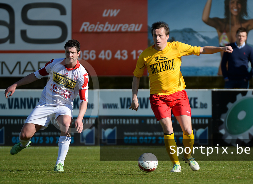 FC Gullegem - Racing Waregem : Kristof Dupont (r) aan de bal voor Sep Demeyere (l)<br /> foto VDB / BART VANDENBROUCKE