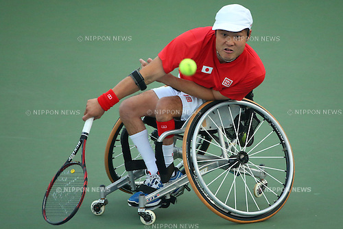 Shingo Kunieda (JPN),<br /> OCTOBER 23, 2014 -  WheelChair Tennis : <br /> Men's Singles Final<br /> at Yeorumul Tennis Courts<br /> during the 2014 Incheon Asian Para Games <br /> in Incheon, South Korea. <br /> (Photo by Shingo Ito/AFLO SPORT)