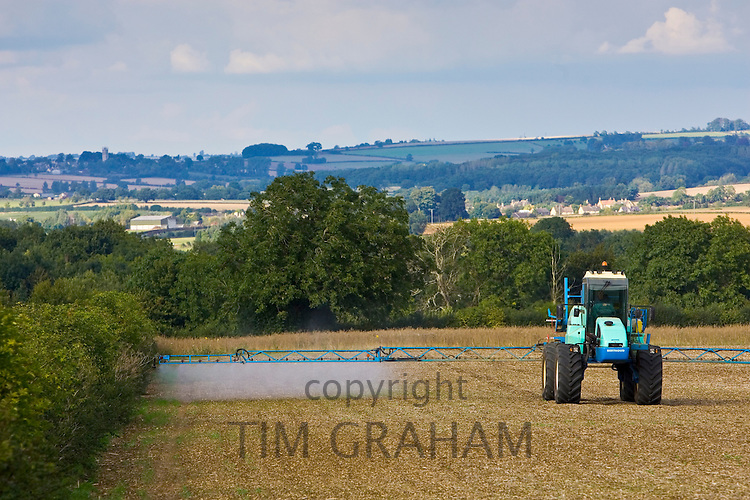 Farmer sprays his crops, Oxfordshire, United Kingdom