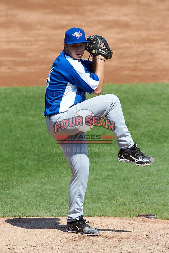 Luke Bolka #6 of Atlee High School in Mechanicsville, Virginia playing for the Toronto Blue Jays scout team during the East Coast Pro Showcase at Alliance Bank Stadium on August 3, 2012 in Syracuse, New York.  (Mike Janes/Four Seam Images)