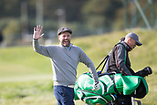 3rd October 2017, The Old Course, St Andrews, Scotland; Alfred Dunhill Links Championship, practice round; Singer Brian McFadden waves to the camera on the third hole of the Old Course, St Andrews, during a practice round ahead of the Alfred Dunhill Links Championship