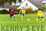 Jack O'Leary Killorglin takes on the Caherdavin defence during the FAI cup clash  in Killorglin on Saturday morning