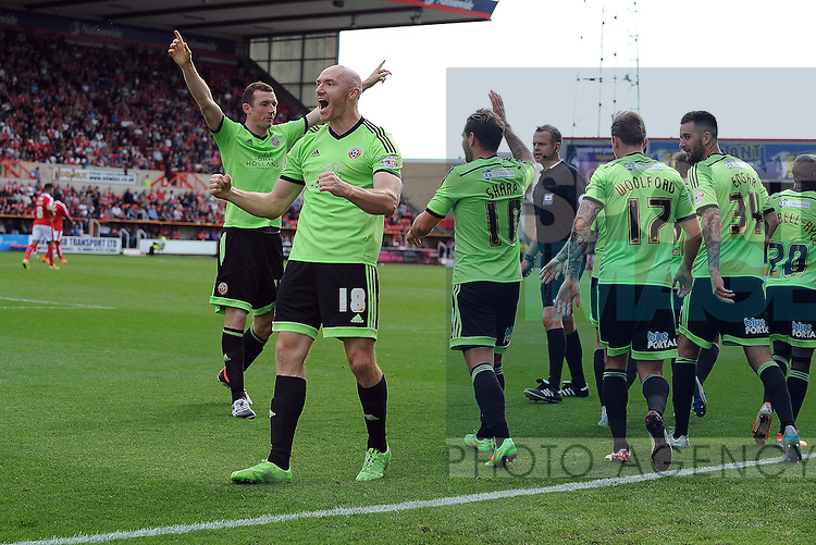 Neill Collins of Sheffield United celebrates scoring his goal to make it 1-0 with team mate Conor Sammon of Sheffield United<br /> - English League One - Swindon Town vs Sheffield Utd - County Ground Stadium - Swindon - England - 29th August 2015