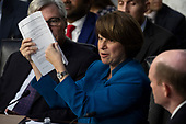Senator Amy Klobuchar, Democrat of Minnesota, speaks as Democrats and Republicans debate during a hearing before the United States Senate Judiciary Committee to consider the nomination of Judge Brett Kavanaugh to be an Associate Justice of the US Supreme Court to replace the retiring Justice Anthony Kennedy on Capitol Hill in Washington, DC on Tuesday, September 4, 2018.Credit: Alex Edelman / CNP