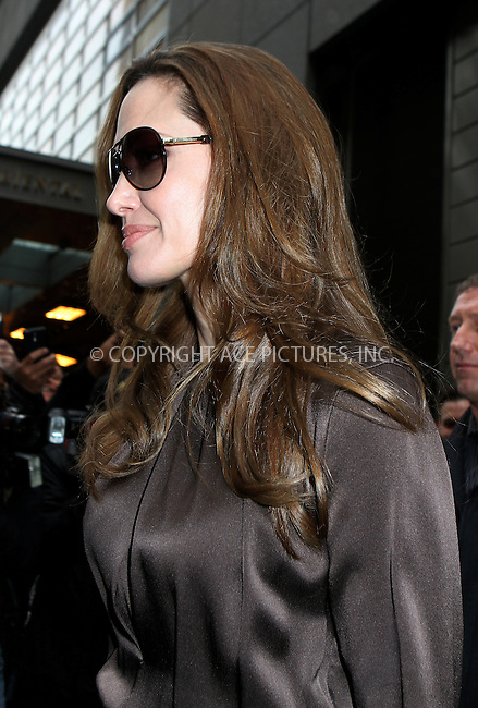 WWW.ACEPIXS.COM . . . . .  ....December 5 2011, New York City....Angelina Jolie leaving the Mandarin Hotel on December 5 2011 in New York City....Please byline: NANCY RIVERA- ACEPIXS.COM.... *** ***..Ace Pictures, Inc:  ..Tel: 646 769 0430..e-mail: info@acepixs.com..web: http://www.acepixs.com