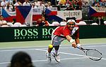 Tenis, Davis Cup 2010.Serbia Vs. Czech Republic, semifinals.Janko Tipsarevic Vs. Tomas Berdych.Janko Tipsarevic, returns.Beograd, 17.09.2010..foto: Srdjan Stevanovic/Starsportphoto ©