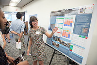 """Comparing historical and current intertidal algae and invertebrate communities in MPA and non-MPA sites in the Palos Verdes Peninsula"" by Dafna Erana<br /> (Mentor: Daniel Pondella, Biology)<br /> Occidental College's Undergraduate Research Center hosts their annual Summer Research Conference, Aug. 1, 2018. Student researchers presented their work as either oral or poster presentations at the final conference. The program lasts 10 weeks and involves independent research in all departments.<br /> (Photo by Marc Campos, Occidental College Photographer)"