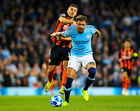Manchester City's Kyle Walker holds off the challenge from Shakhtar Donetsk's Moraes<br /> <br /> Photographer Alex Dodd/CameraSport<br /> <br /> UEFA Champions League Group F - Manchester City v Shakhtar Donetsk - Wednesday 7th November 2018 - City of Manchester Stadium - Manchester<br />  <br /> World Copyright &copy; 2018 CameraSport. All rights reserved. 43 Linden Ave. Countesthorpe. Leicester. England. LE8 5PG - Tel: +44 (0) 116 277 4147 - admin@camerasport.com - www.camerasport.com