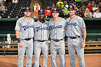 Asheville Tourists (L-R) Casey Golden (11), Paco Martin (7), Bret Boswell (3) and Chad Spanberger (24) after the South Atlantic League All Star Game at First National Bank Field on June 19, 2018 in Greensboro, North Carolina. The game Southern Division defeated the Northern Division 9-5. (Tony Farlow/Four Seam Images)