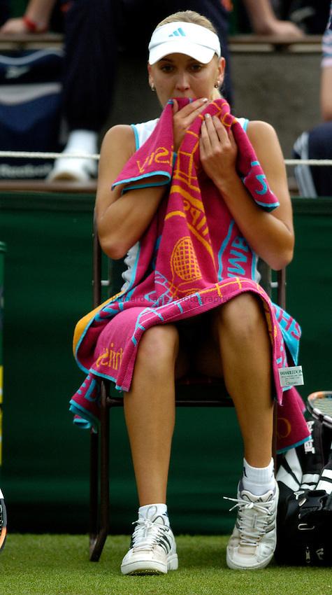Photo: Richard Lane..Wimbledon Championships. 27/06/2006. .Russia's Elena Vesnina during her 1st round.