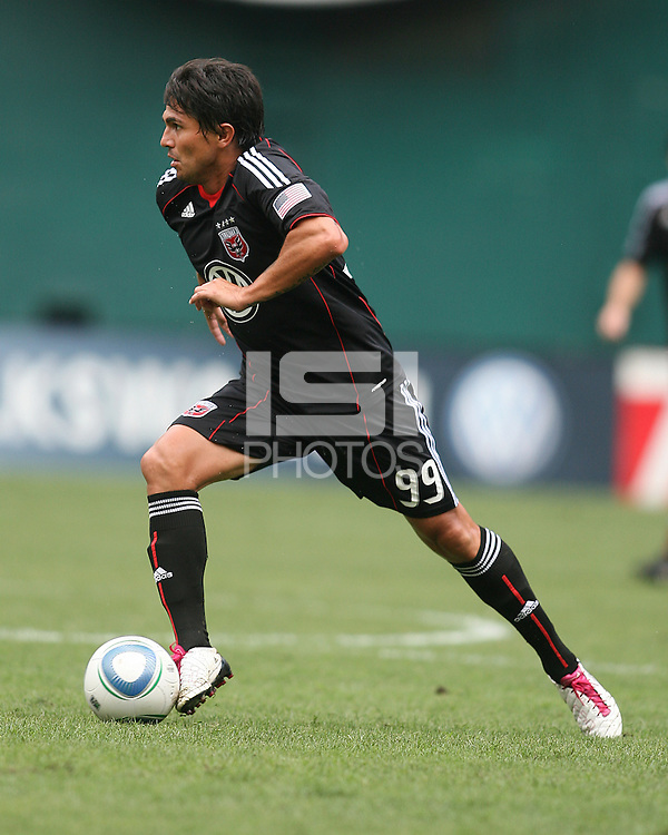 Jaime Moreno #99 of D.C. United moves forward during an MLS match against the Philadelphia Union at RFK Stadium on August 22 2010, in Washington DC. United won 2-0.