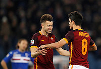 Calcio, Serie A: Roma vs Sampdoria. Roma, stadio Olimpico, 7 febbraio 2016.<br /> Roma&rsquo;s Diego Perotti, right, celebrates with teammate Stephan El Shaarawy after scoring during the Italian Serie A football match between Roma and Sampdoria at Rome's Olympic stadium, 7 January 2016.<br /> UPDATE IMAGES PRESS/Riccardo De Luca